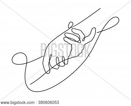 Helping Hands In Continious Single Line Decoration - Isolated Vector Help And Hope Illustration