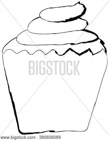 Flat Doodle Drawing Image Of Cup Cake, Vector Illustration