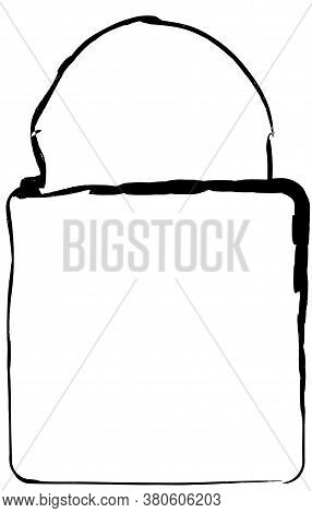 Flat Doodle Drawing Image Of Lock, Vector Illustration