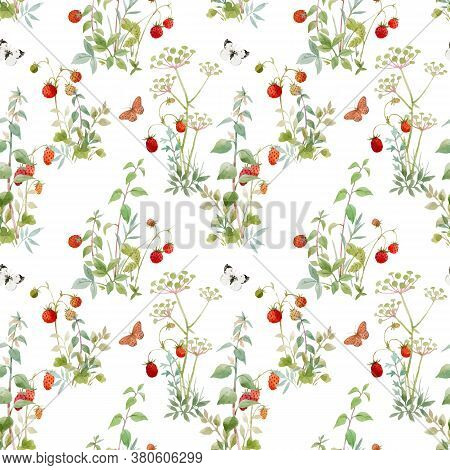 Beautiful Vector Seamless Floral Pattern With Watercolor Forest Plants And Berries. Stock Illustrati