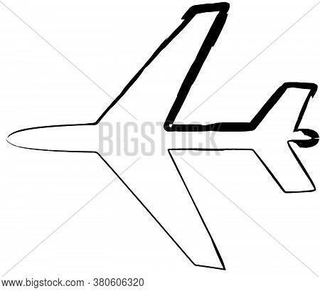 Flat Doodle Drawing Image Of Plane, Vector Illustration