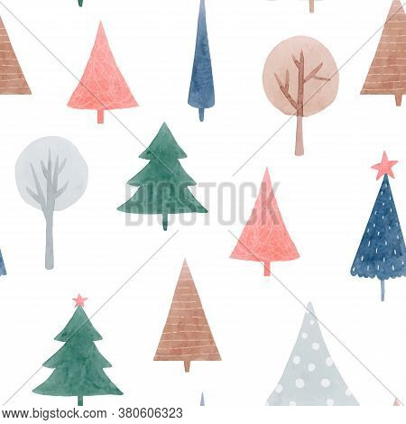 Beautiful Vector Seamless Pattern With Cute Abstract Watercolor Forest Trees. Stock Illustration.