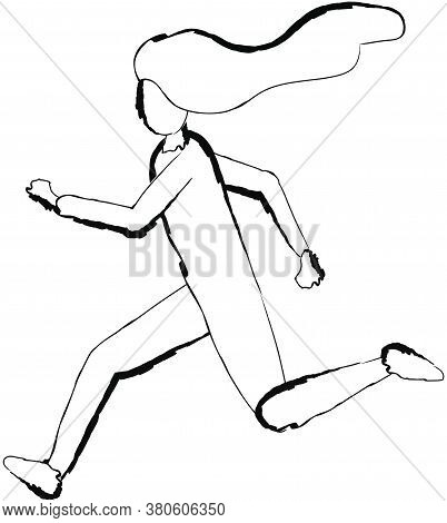 Flat Doodle Drawing Image Of Running Woman, Vector Illustration