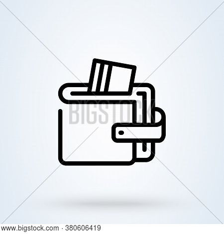 Wallet Or Purse Linear Style. Money Wallet Line Icon. Vector Illustration Digital Wallet.