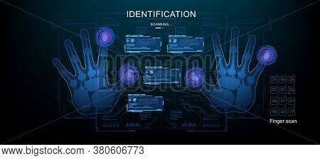 Palm Scan With Display On Holographic Hud Panels. Futuristic Scan Of Human Hands With Hud Elements.