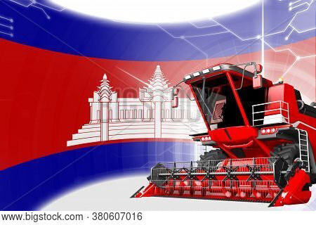 Digital Industrial 3d Illustration Of Red Advanced Wheat Combine Harvester On Cambodia Flag - Agricu