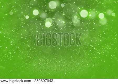 Green Pretty Shining Abstract Background Glitter Lights With Sparks Fly Defocused Bokeh - Celebrator