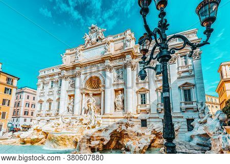 Famous And One Of The Most Beautiful Fountain Of Rome - Trevi Fountain (fontana Di Trevi). Italy.