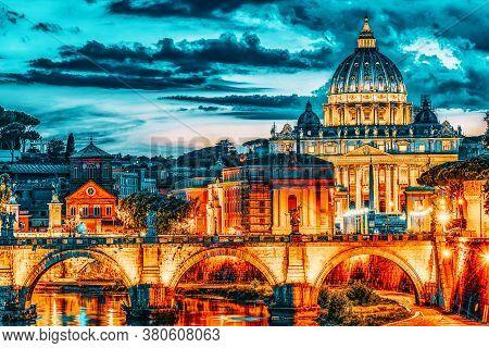 View On Bridge Vittorio Emanuele Ii (ponte Vittorio Emanuele Ii) And Vatican City St. Peter's Basili