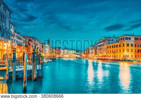 Rialto Bridge (ponte Di Rialto) Or Bridge Of Sighs And View Of The Most Beautiful Canal Of Venice -