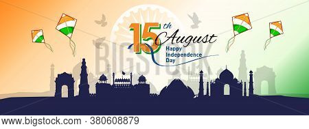 Banner Or Header Designed Of 15th August Happy Independence Day Of India, With Stylish Text, Flying