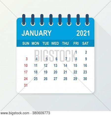January 2021 Calendar Leaf. Calendar 2021 In Flat Style. Vector Illustration.