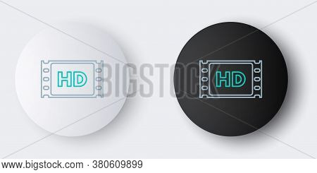 Line 4k Movie, Tape, Frame Icon Isolated On Grey Background. Colorful Outline Concept. Vector