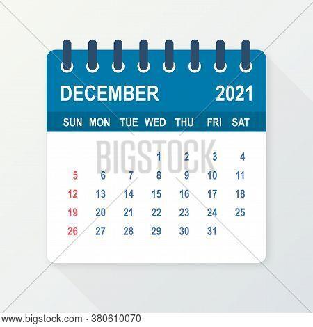 December 2021 Calendar Leaf. Calendar 2021 In Flat Style. Vector Illustration.
