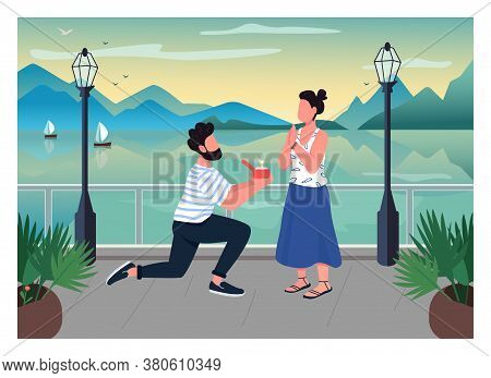 Romantic Proposal Flat Color Vector Illustration. Man On One Knee With Diamond Ring. Woman Excited O