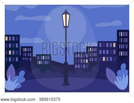 Midnight City Flat Color Vector Illustration. Glowing Lantern On Pole In Urban Public Park. Place Fo