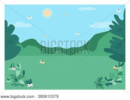 Daytime Forest Clearing Flat Color Vector Illustration. Spot For Camping In Woods. Place For Hiking