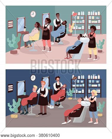 Hairdressers Flat Color Vector Illustration Set. Beauty Salons. Hairdressing. Customers At Hair Salo