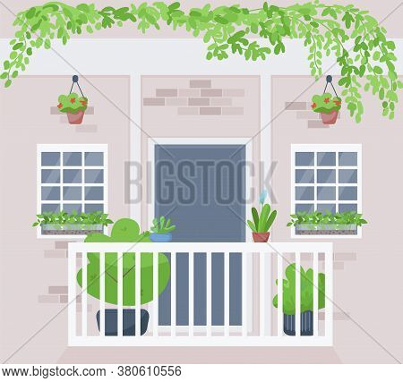 Windowsill Urban Garden Flat Color Vector Illustration. Potted And Hanging Houseplants Outside Build