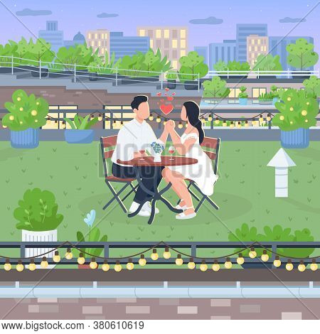 Romantic Roof Date Flat Color Vector Illustration. Boyfriend And Girlfriend Sit At Table On Rooftop.