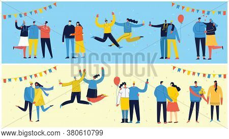 Vector Set Of Cards With Happy Group Of People Celebrating, Jumping On The Party. The Concept Of Fri