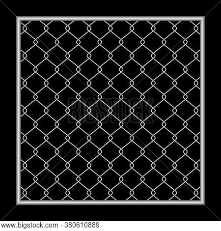 Metal Fence Wire Mesh Isolated On Black, Net Fence Silver Steel, Mesh Silver Object Illustration, Ir