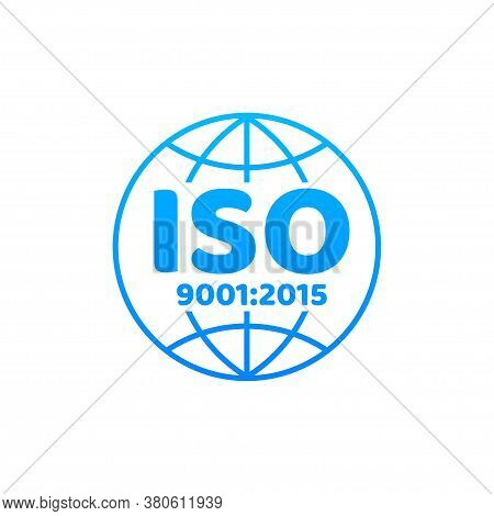Iso 9001 Certified Badge, Icon. Certification Stamp. Flat Design Vector.