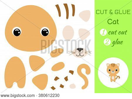Cut And Glue Baby Cat. Education Developing Worksheet. Color Paper Game For Preschool Children. Cut
