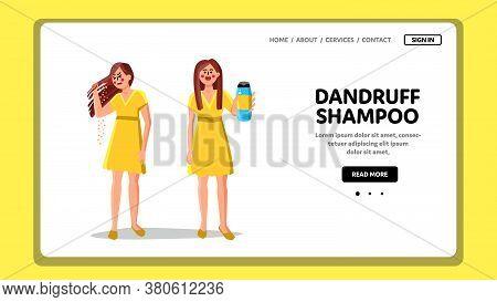Dandruff Shampoo For Treat Hair Problem Vector
