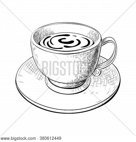 One Cup Of Coffee Or Tea With Saucer Hand Drawn Sketch Isolated On White. Engraved Vector Illustrati