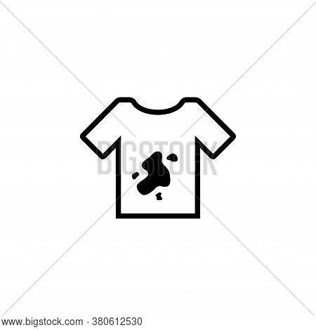 Dirty Tshirt, T-shirt With Spots Dirt. Flat Vector Icon Illustration. Simple Black Symbol On White B