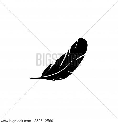 Bird Wing Feather, Nib Pen, Plumage. Flat Vector Icon Illustration. Simple Black Symbol On White Bac