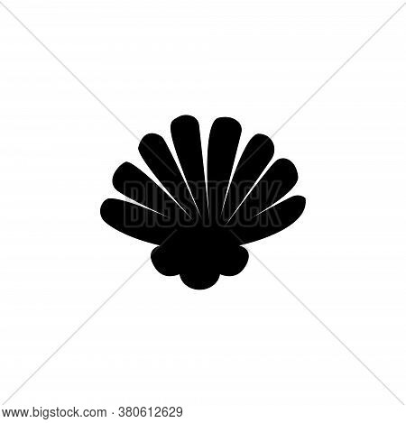 Scallop Seashell, Shellfish, Pearl Shell. Flat Vector Icon Illustration. Simple Black Symbol On Whit