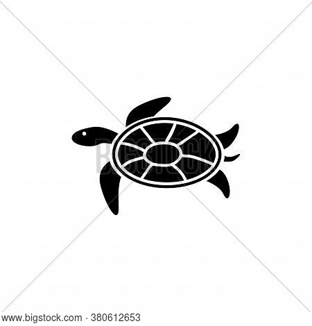 Sea Turtle, Tortoise, Marine Reptile. Flat Vector Icon Illustration. Simple Black Symbol On White Ba