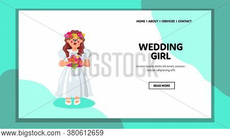 Wedding Girl Wearing Ceremonial Clothes Vector Illustration