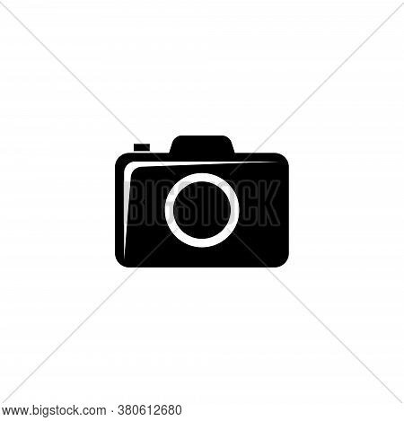 Compact Photo Or Video Camera, Dslr. Flat Vector Icon Illustration. Simple Black Symbol On White Bac
