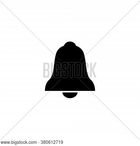 Notification Jingle Bell, Alarm Handbell. Flat Vector Icon Illustration. Simple Black Symbol On Whit