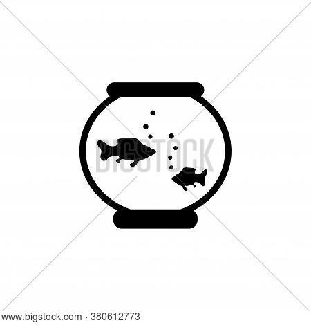 Fish Aquarium, Underwater Life In Fishbowl. Flat Vector Icon Illustration. Simple Black Symbol On Wh