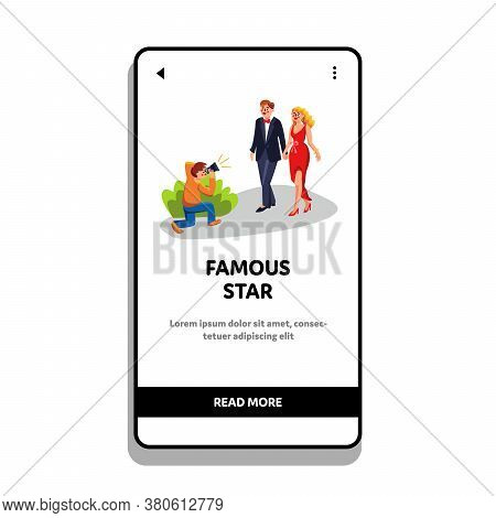 Famous Star Couple Photographing Paparazzi Vector Illustration