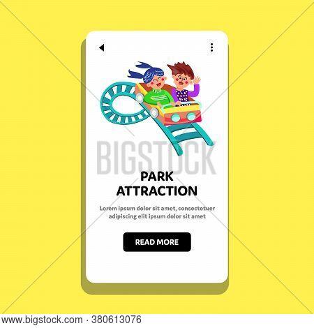 Park Attraction Children Ride Rollercoaster Vector Illustration