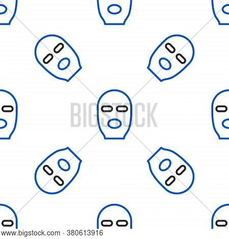 Line Thief Mask Icon Isolated Seamless Pattern On White Background. Bandit Mask, Criminal Man. Color