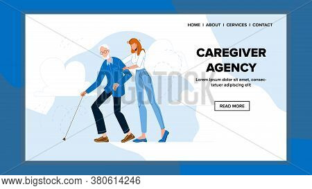 Caregiver Agency Service For Help Old Human Vector