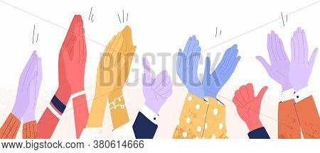 Colorful Clapping Hands Or Diverse Applauding People. Public Multinational Audience Demonstrate Gree