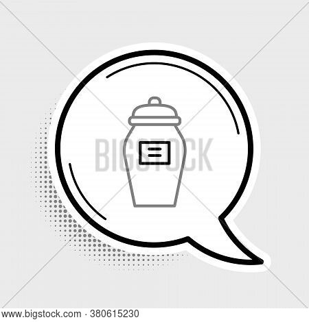 Line Funeral Urn Icon Isolated On Grey Background. Cremation And Burial Containers, Columbarium Vase