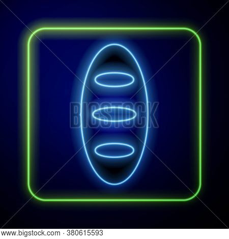 Glowing Neon Bread Loaf Icon Isolated On Blue Background. Vector