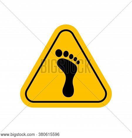 Footprint Warning Sign, Barefoot Icon, Caution Footprint Sign Yellow, Spoor Symbol