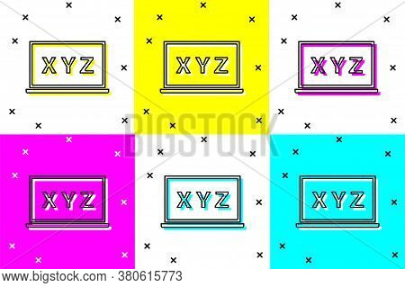 Set Xyz Coordinate System On Chalkboard Icon Isolated On Color Background. Xyz Axis For Graph Statis