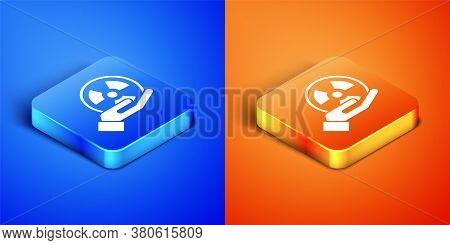 Isometric Radioactive In Hand Icon Isolated On Blue And Orange Background. Radioactive Toxic Symbol.