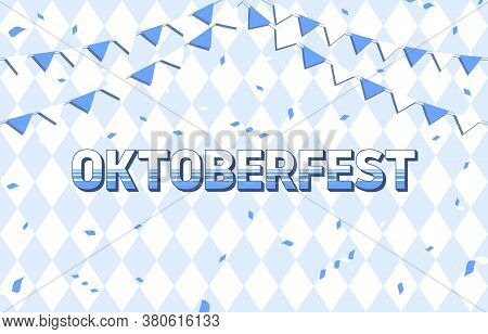 Oktoberfest Background. Decoration Elements On Geometric Pattern Background. Template For Oktoberfes