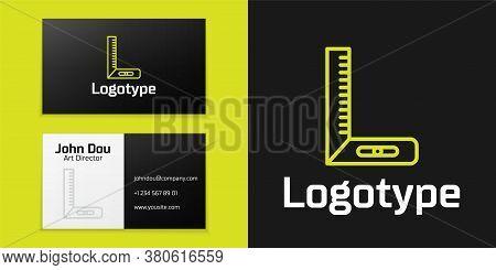 Logotype Line Corner Ruler Icon Isolated On Black Background. Setsquare, Angle Ruler, Carpentry, Mea